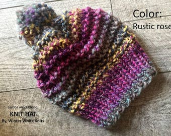 Knit hat, winter hat, chunky knit hat, beanie hat, slouchy knit hat, slouchy knit hat, knitted beanie hat, Rustic rose knit hat