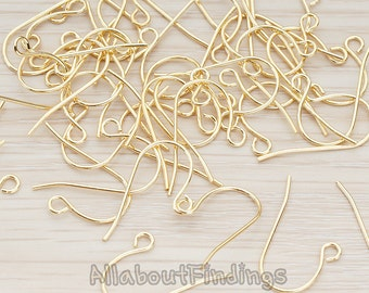 ERG650-G // Glossy Gold Plated French Earwire, 20 Pc
