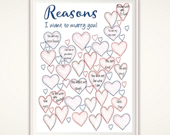 Reasons I Want To Marry You - Fiance Gift, Proposal Gift, From Groom to Bride,  Wedding Countdown, PRINTABLE Engagement Gift Idea, For Bride