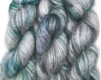 "Hand Dyed Yarn ""Loose and Complete"" Green Blue Grey Brown Navy Speckled Kid Mohair Silk Laceweight 465yds 50g"