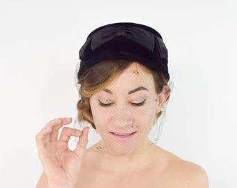 60s Black Pillbox Hat | Italian Wool & Satin Bow Mod Hat with Veil Netting