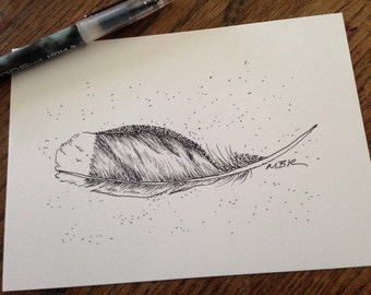 Original Ink Drawing, Nature Art, Bird Feather, Gull Feather, Black and White, Feather Illustration, Feather Drawing, Small Drawing, 5 x 7