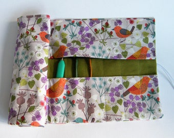 Crochet Hook Case. Double pointed needle roll. Hedgerow fabric