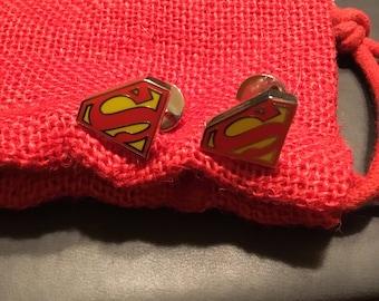 DC Comics Superman Gold Tone Shield Cufflinks