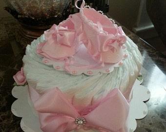 One Tier Pink Ballerina Diaper Cake / Baby Shower Centerpiece / Elegant Diaper  Cakes / Baby