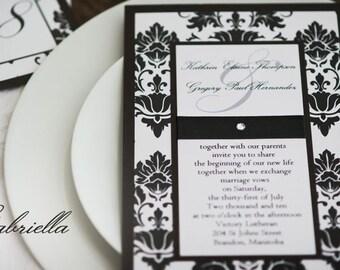 Sample - Vintage Black & White Damask Wedding Invitation with Rhinestone