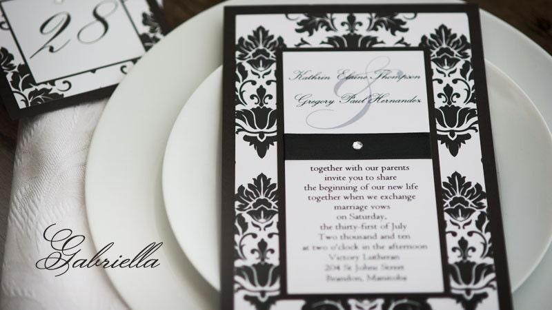Sample Vintage Black White Damask Wedding Invitation with