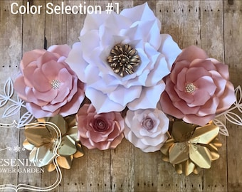 White Rose Gold and Gold Paper Flowers