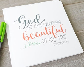 Encouragement cards etsy beautiful in his time greeting card bible verse christian cards wedding birthday confirmation encouragement m4hsunfo