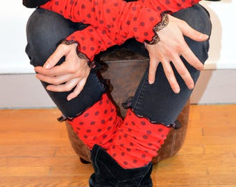 red gaiters with dots