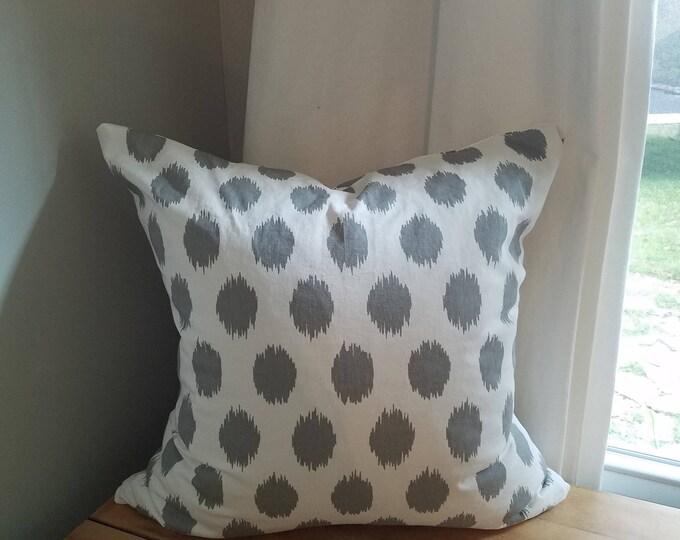 Gray dot ikat  pillow