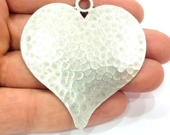 Antique Silver Pendant Large Heart Hammered Pendant Medallion  (65x58mm) Antique Silver Plated G12291