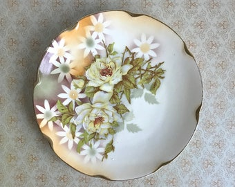 Vintage Plate Yellow Roses Daisies Shabby Cottage Scalloped Edge Antique China