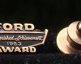 Vintage Ford Award Tie Tac or Lapel Pin 1/10 10k ~ 1963