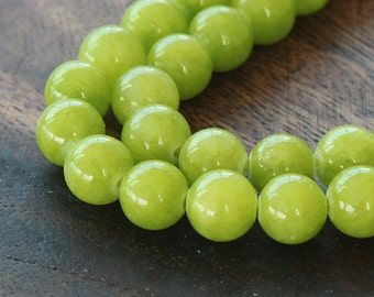 Mountain Jade Beads, Chartreuse, 8mm Round - 15 Inch Strand - eMJR-G12-8