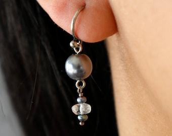Grey Pearl Drop earrings - Pearl Dangle Earrings - Gray Pearl Earrings