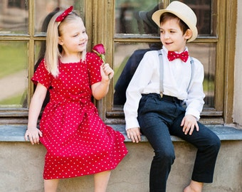 Red Polka dot girl dress - Valentine day girl dress -  red flower girl dress - red girl dress - linen toddler dress - Baby girl dress