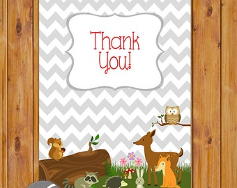 "Forest Friends Woodland Animals Thank You Card Flat Card Print Your Own All Occasion 4""x6"" Digital Instant Download (ty-196)"