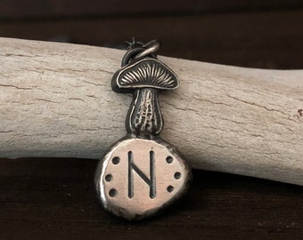 Rune Necklace - Witch Jewelry - Mushroom Necklace - Shaman Necklace - Solid Fine Silver - Custom Elder Futhark Rune - Sterling Silver Chain