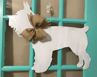 Grey Distressed Schnauzer Dog Wooden Door Hanger