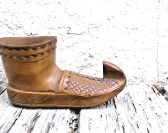"""Hand Carved Vintage Wooden Shoe or Boot // Original Small 4.75"""" Length // Arabian Pakistani Middle Eastern Style"""