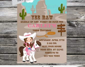 12 Printed Invitations By Serendipity Celebrations - Yee Haw -Western Party Cowgirl Invite -Baby Shower -Printing Service