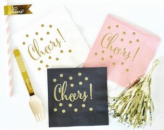Gold Cheers Napkins (set of 25)/Gold Party Napkins/Cheers Napkins/ Bachelorette Party Napkins//Birthday Party Napkin // Wedding Bar Napkins