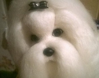 Needle felted custom dog sculpture of youre dog /Needle Felted Maltese /Dog Portrait /Custom dog art / Custom portrait