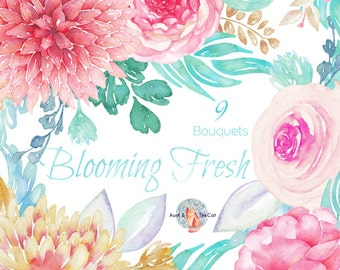 Watercolor Blooming Fresh Bouquet Flowers Hand Painted, Floral, Dahlia, Ranunculus and Rose, Wedding Invitation, Greeting Card, DIY Clip Art