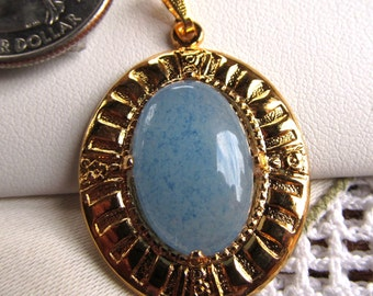 Blue Quartz Oval Cabochon 18x13mm in Gold-plated Pendant Setting with Chain
