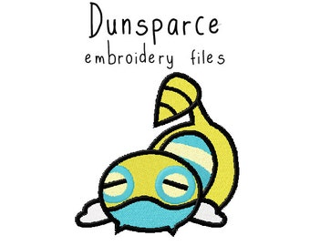Pokemon Dunsparce EMBROIDERY MACHINE FILES pattern design hus jef pes dst all formats Instant Download digital applique kawaii cute