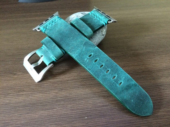 Handmade Apple Watch Band | Apple Watch Strap | Leather Watch Band | Green Leather Watch Strap For Apple Watch 38mm & 42mm - Series 1 and 2