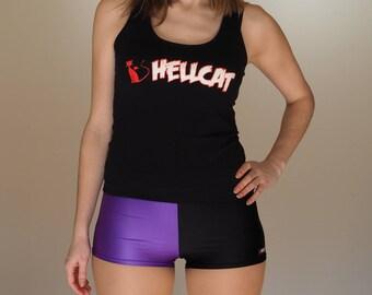 Half Purple Half Black Roller Derby Shorts