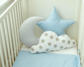 Set Of Cloud, Moon And Star Pillows, Kids Pillows, Decorative Cushions, Kids Room Decor, Baby Bedding