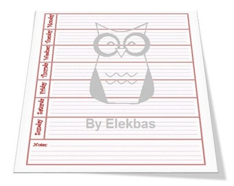 Weekly planner, one page, A4, horizontal, Red, instant download, buy once, use forever.