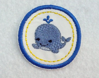 Whale Badge, Iron On Badge, Merit Badge, Whale Merit Badge, Swimmer Badge, Little Whale Patch, Whale Patch, Whale Iron On Patch, Blue Whale