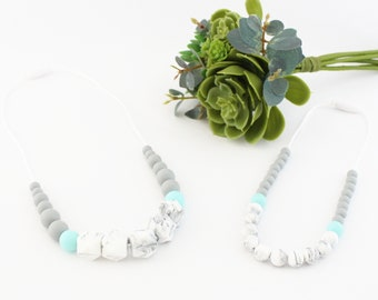 Teething necklace to chew on parent-child model Momdeuse for MOM and baby, silicone beads