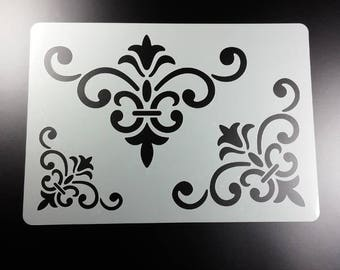 Stencil Corner Ornament 3 sizes Volute tendrils-BS65