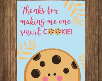 Cookie Tag Printable, Teacher Appreciation Gift, Thank You Gift