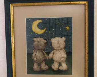 """Lovely cross stitch picture """"Teddy bears"""""""
