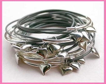 Gray Leather Bangles with Silver Hearts - 15 bracelets