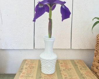 Milk glass bud vase