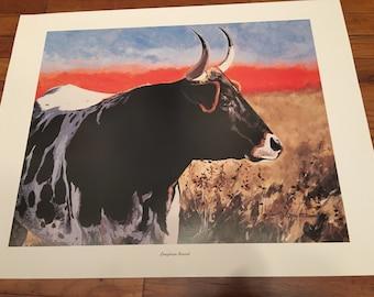 Jerry McAdams Art Print Longhorn Sunset