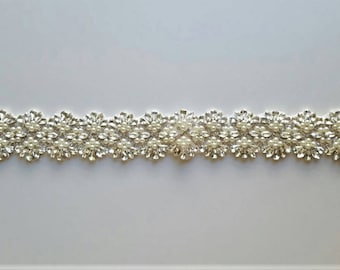 Wedding Sash Belt, Crystal Pearl Sash Belt = 19 inch long