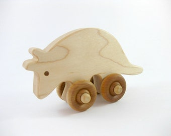 Wooden Armadillo Push Toy, natural wood kids toy