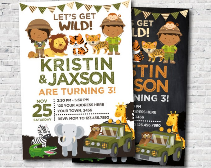 Safari Siblings Birthday Invitation, Joint Party Invitation, Jungle Birthday Party, Zoo Birthday Invitation, Personalized DIGITAL, 2 Options