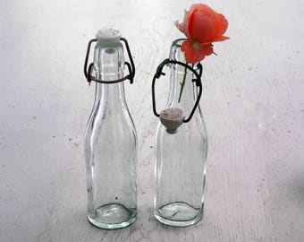 2  french vintage beer bottles, antique bottle with porcelain caps