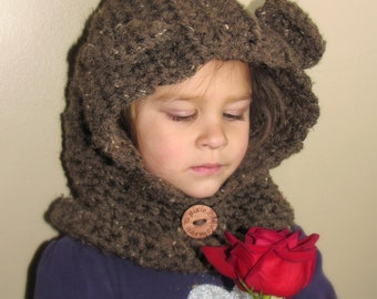 Toddler or Child BEAR SCOODIE - Brown or Virtually ANY Color - Hat - Cowl - Winter - Crochet