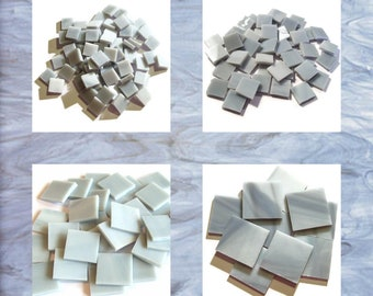 Light Gray Squares Stained Glass Mosaic Tiles Opal Hand Cut Spectrum