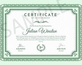 Certificate Master Template Editable, Printable.